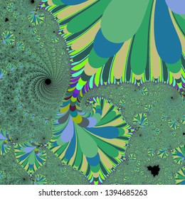 Part of the beautiful Mandelbrot Set, a mathematical fractal formed by iterating complex numbers. Can be visualised at endless degrees of magnification, revealing complex and unexpected detail.