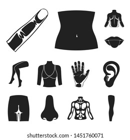 Part of the body, limb black icons in set collection for design. Human anatomy bitmap symbol stock web illustration.