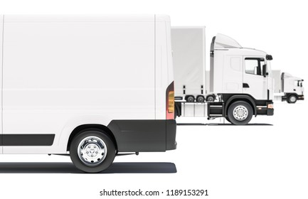 Part of a Delivery Van with Semi Trailer Trucks in the Background 3d rendering