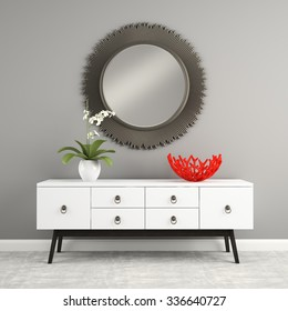 Part of  interior with stylish console 3D rendering