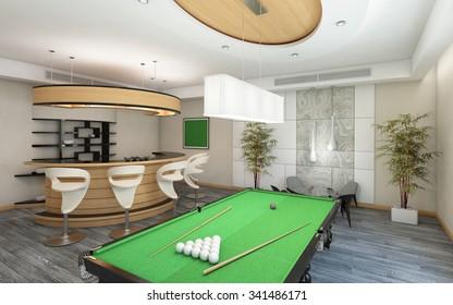 Part of Living Room with Billiard 3d Rendering