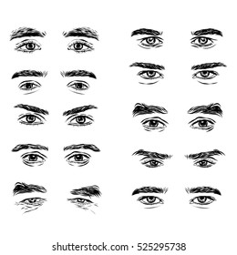 part of the male person s eyes and eyebrows.