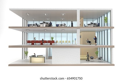 part office building cutaway isolated on white. 3d rendering