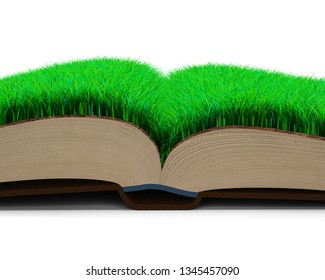 Part of opened book with green grass and brown soil texture page, isolated on white background, side view. 3D illustration.