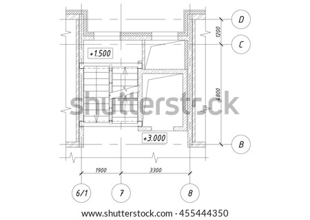 Part Of The Plan Of An Apartment House With Stairs And Elevator Shafts.