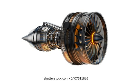 Part of real airplane turbine on light background, 3d illustration