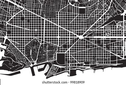 Part of urban plan of a city of Barcelona. Black and white pattern.