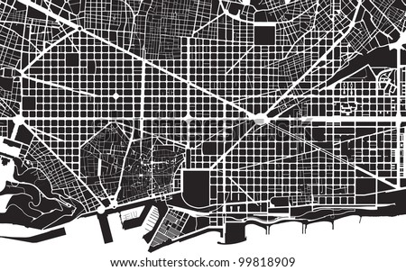 Part Urban Plan City Barcelona Black Stock Illustration 40 Extraordinary Urban Pattern