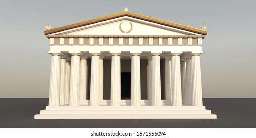 Parthenon, ancient greek temple, visualization, 3D illustration