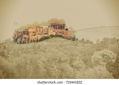 Parthenon And Herodium Construction In Acropolis Hill Athens Greece Modern Painting Brushed