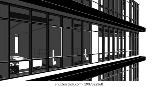Partial 3d illustration of a modern office building's elevation.  Close up from a corner office floor with workspace furniture.  Perspective scene in black and white tones with shadows.