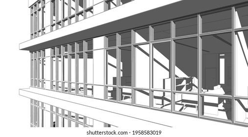 Partial 3d illustration of a modern office building's elevation.  Close up from a corner office floor with workspace furniture. Perspective scene in grey tones at sunset with deep shadows.