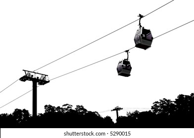 Partial silhouette of a cable lift. I left the detail and color intact in the pods themselves.