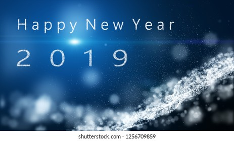 The particle merges into a Happy new year 2019 with light ray beam. Particle snow flake background.