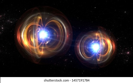 Particle, quantum entanglement (quantum correlation). Quantum mechanics . 3d illustration