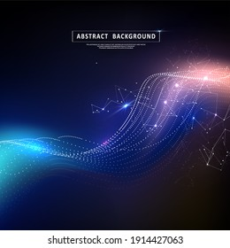 Particles liquid dynamic flow. Abstract polygonal space. Background with connecting dots and lines. Glittering dust of lights. Graphic concept for your design.