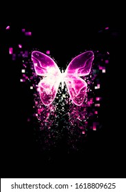 Particles splatter from a glowing abstract butterfly