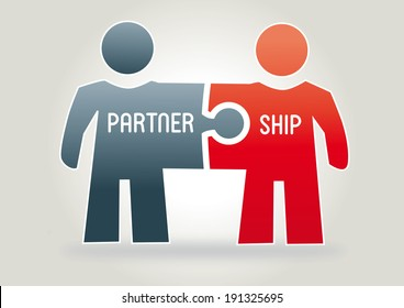 partnership concept with two figures made ??from puzzle pieces