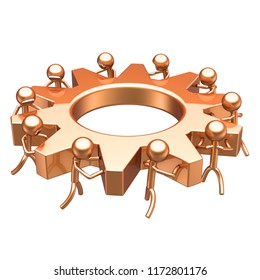 partnership, human resources cooperation concept. business process, teamwork cogwheel characters gear wheel golden. team work men turning gearwheel together. 3d illustration