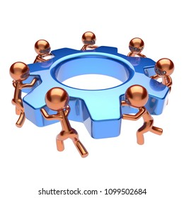 Partnership, manpower, characters. Gear wheel teamwork, cogwheel business process. Team work men workers turning gearwheel together. Cooperation community, make easy concept. 3d illustration