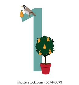 A partridge in a pear tree Christmas illustration.