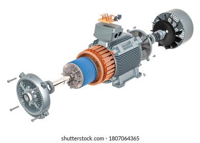 Parts of industrial electric motor, 3D rendering isolated on white background