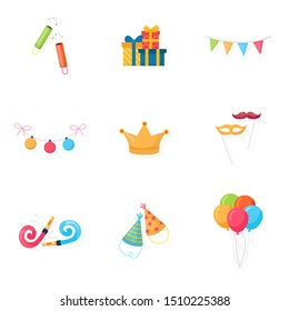 Party accessories cartoon illustrations. Holidays celebration supplies clipart. Festive anniversary garlands, gifts, balloons, confetti. Birthday hats and whistles. Christmas tree baubles. Raster copy