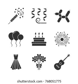 Party accessories glyph icons set. Holiday slapstick, confetti, air balloons, birthday cake, firework, evening gown, bunch of flowers, guitar. Silhouette symbols. Raster isolated illustration