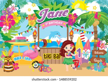 Party Backdrop with cute Hula girl, first birthday party backdrop with Hawaiian theme.