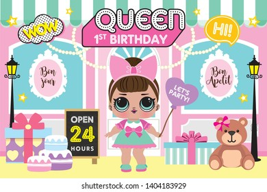 Party Backdrop with cute little girl in front of bakery shop, Baby shower party backdrop. first birthday party
