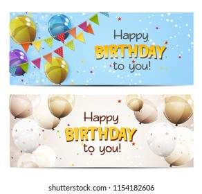 Party Background Baner with Flags and Balloons  Illustration.