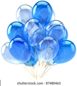 Party balloons blue cyan white birthday holiday anniversary retirement celebrate decoration elegance baloons life events greeting card design element classic. 3d render isolated