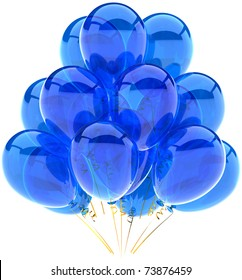 Party balloons blue translucent birthday anniversary graduation retirement holiday decoration cyan blank. Joy happy positive emotion abstract. 3d render isolated on white background