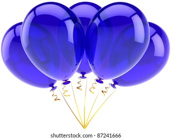Party balloons five blue happy birthday decoration of holiday celebration. Occasion anniversary retirement graduation concept. Joy fun abstract. Detailed 3d render. Isolated on white background