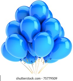 Party balloons New Years Eve Merry Christmas decoration blue cyan. Happy birthday holiday abstract anniversary graduation life events celebration greeting card. 3d render isolated on white background