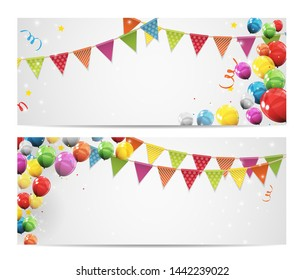 Party Birthday Background Baner with Flags and Balloons  Illustration.