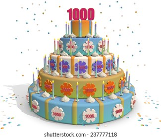 Party cake - confetti - flowers and candles. On top of the cake the number thousand