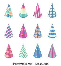 Party different hats collection for a birthday celebration, new year and other holidays. Graphic illustration