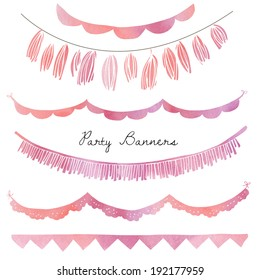 Party Garland Bunting Flags Banners with Pink Watercolor Texture