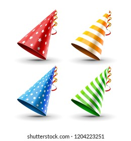 Party hat set isolated on a white. Birthday hat set. fun decoration. Colorful surprise costume.