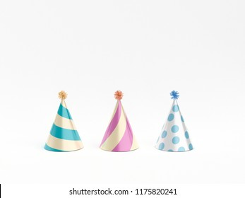 Party hats isolated on white. 3d rendering.
