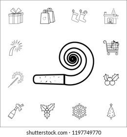 royalty free stock illustration of flat firework icon set christmas Simple Rocket Diagram party horn blowout line icon set of christmas and new year icons signs