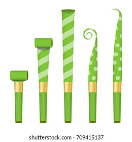 Party Horn Set. Color Penny Whistle. Top View. Isolated