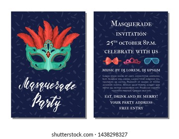 party invitation template with masks and party accessories illustration