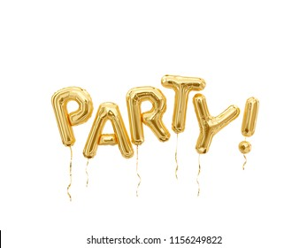 Party letters, foil balloons party word isolated on white background. 3d rendering