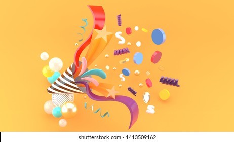 Party popper amidst the like buttons, coins, stars, ribbons among colorful balls on an orange background.-3d rendering.