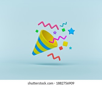 party popper with colorful confetti isolated. cartoon style birthday celebration symbol. 3d rendering
