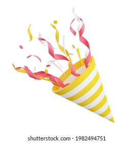 Party popper with flying confetti 3d render illustration. Firecracker explodes with serpentine for surprise or winner concept isolated on white background. Birthday and anniversary cone popper.