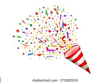 party popper illustration, paper, surprise