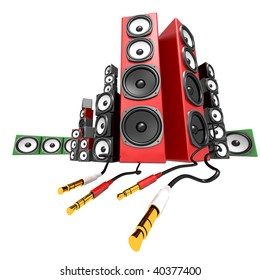 Party soundbox audio collection on white background